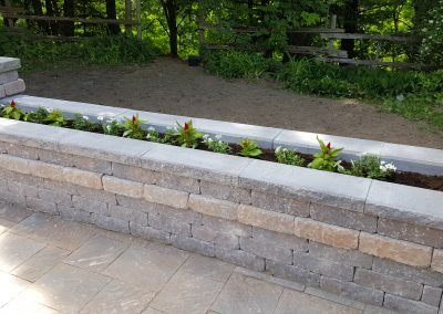 Flower garden retaining wall provides and attractive and functional feature for a backyard patio